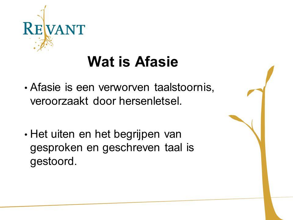 Wat is Afasie Afasie is een verworven taalstoornis, veroorzaakt door hersenletsel.