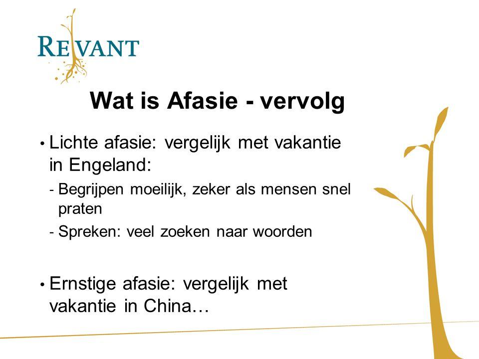 Wat is Afasie - vervolg Lichte afasie: vergelijk met vakantie in Engeland: Begrijpen moeilijk, zeker als mensen snel praten.