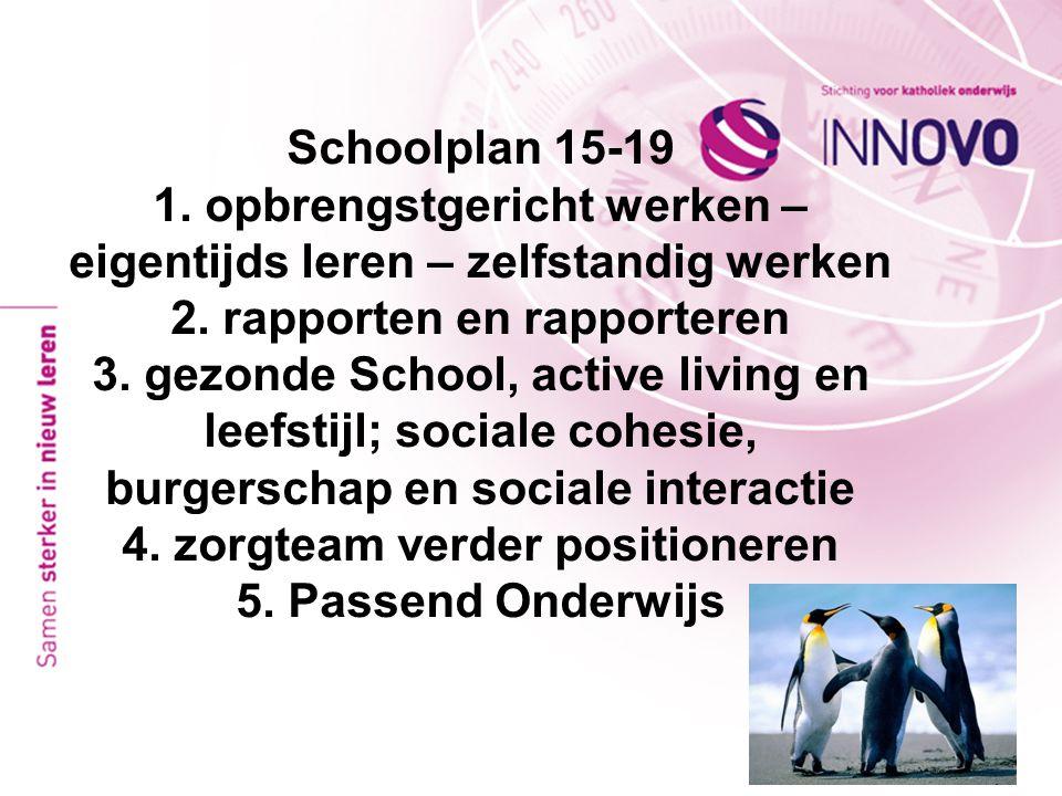 Schoolplan 15-19 1. opbrengstgericht werken – eigentijds leren – zelfstandig werken 2.