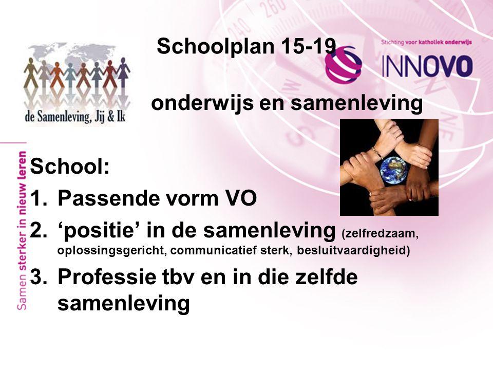 Schoolplan 15-19 onderwijs en samenleving. School: Passende vorm VO.
