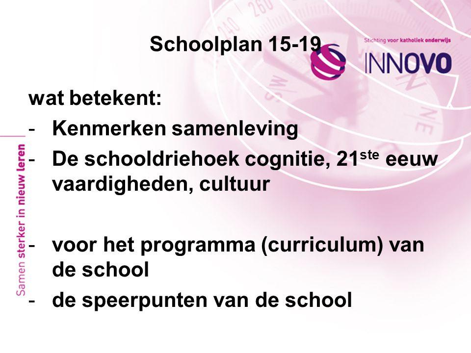 Schoolplan 15-19 wat betekent: Kenmerken samenleving. De schooldriehoek cognitie, 21ste eeuw vaardigheden, cultuur.