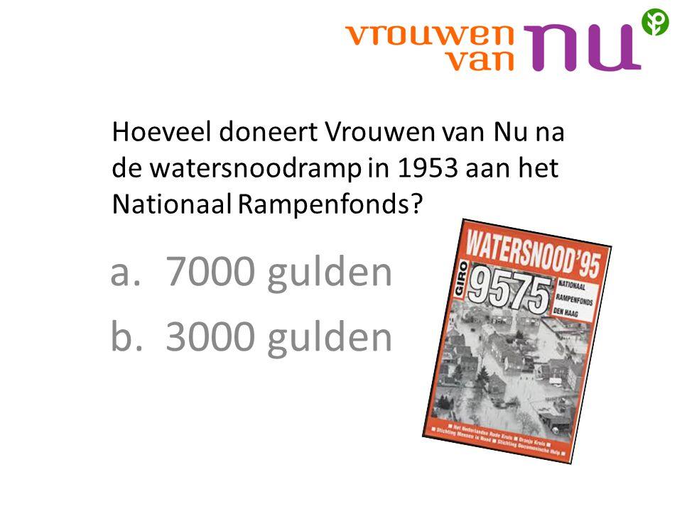 Hoeveel doneert Vrouwen van Nu na de watersnoodramp in 1953 aan het Nationaal Rampenfonds