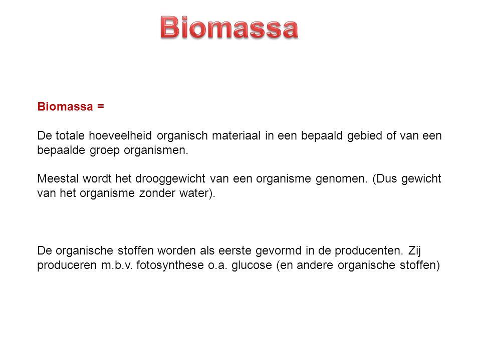 Biomassa Biomassa = De totale hoeveelheid organisch materiaal in een bepaald gebied of van een. bepaalde groep organismen.
