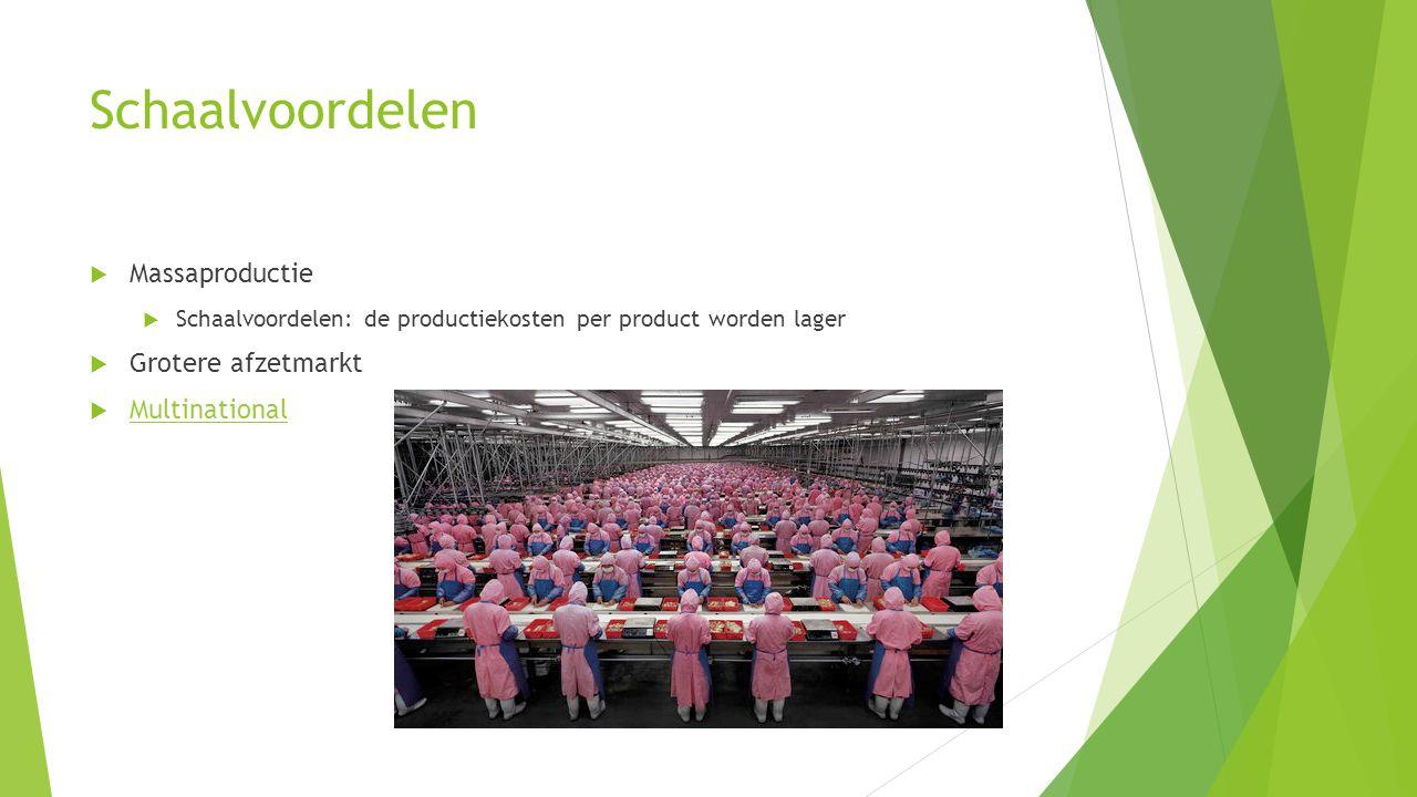 Schaalvoordelen Massaproductie Grotere afzetmarkt Multinational