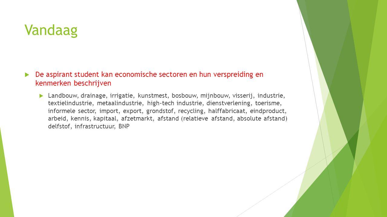 Vandaag De aspirant student kan economische sectoren en hun verspreiding en kenmerken beschrijven.