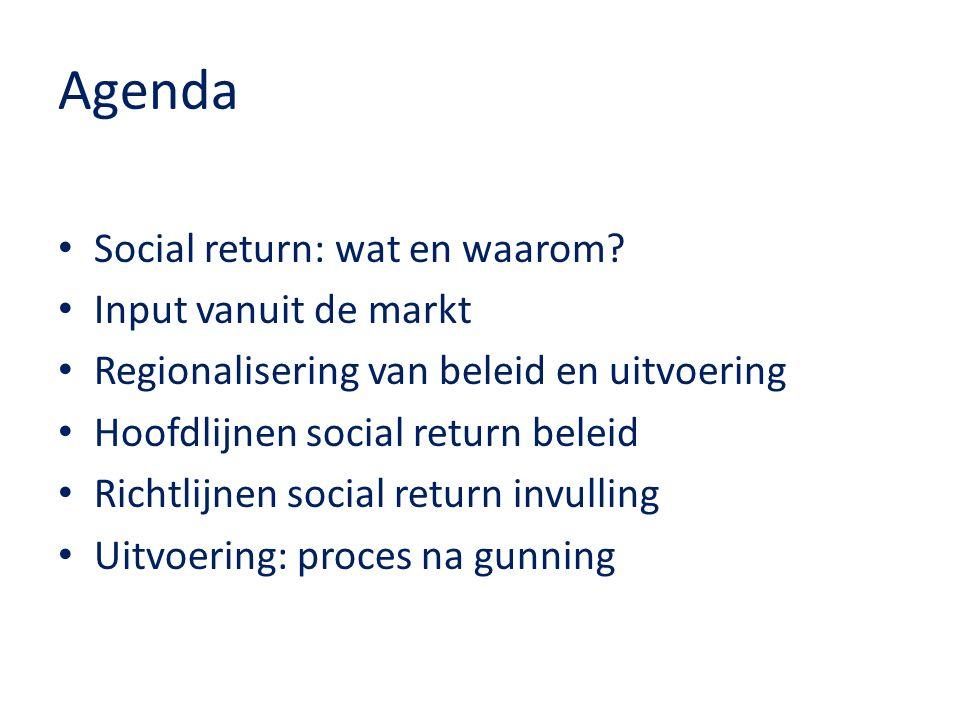 Agenda Social return: wat en waarom Input vanuit de markt