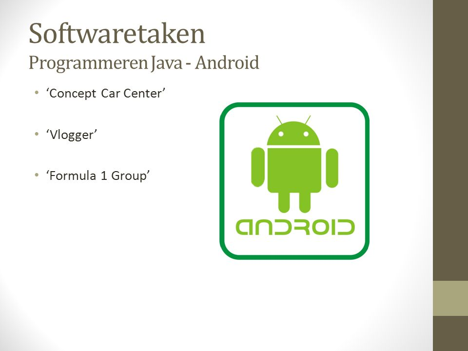 Softwaretaken Programmeren Java - Android