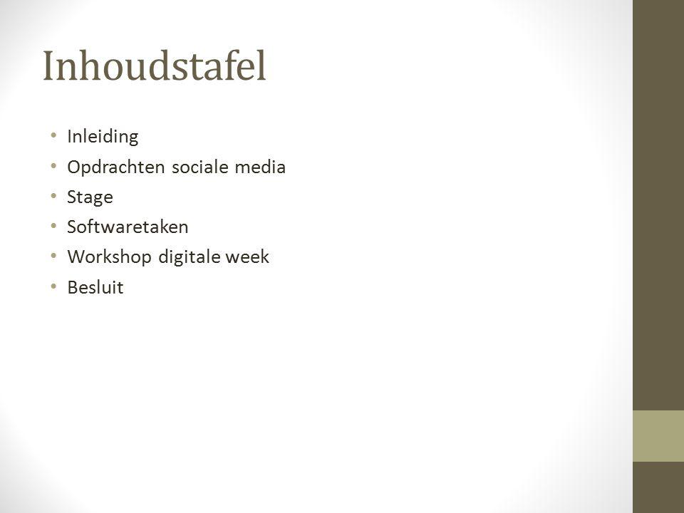 Inhoudstafel Inleiding Opdrachten sociale media Stage Softwaretaken