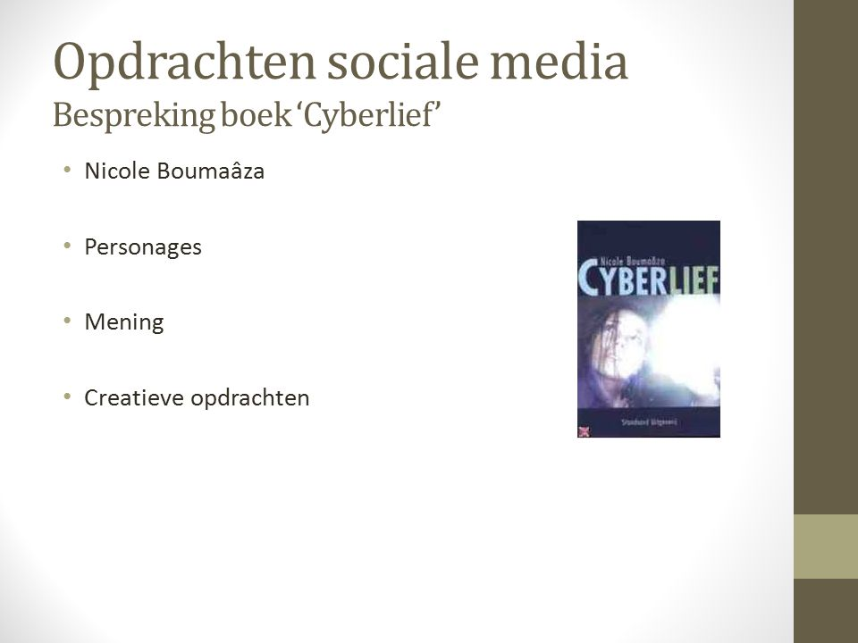 Opdrachten sociale media Bespreking boek 'Cyberlief'