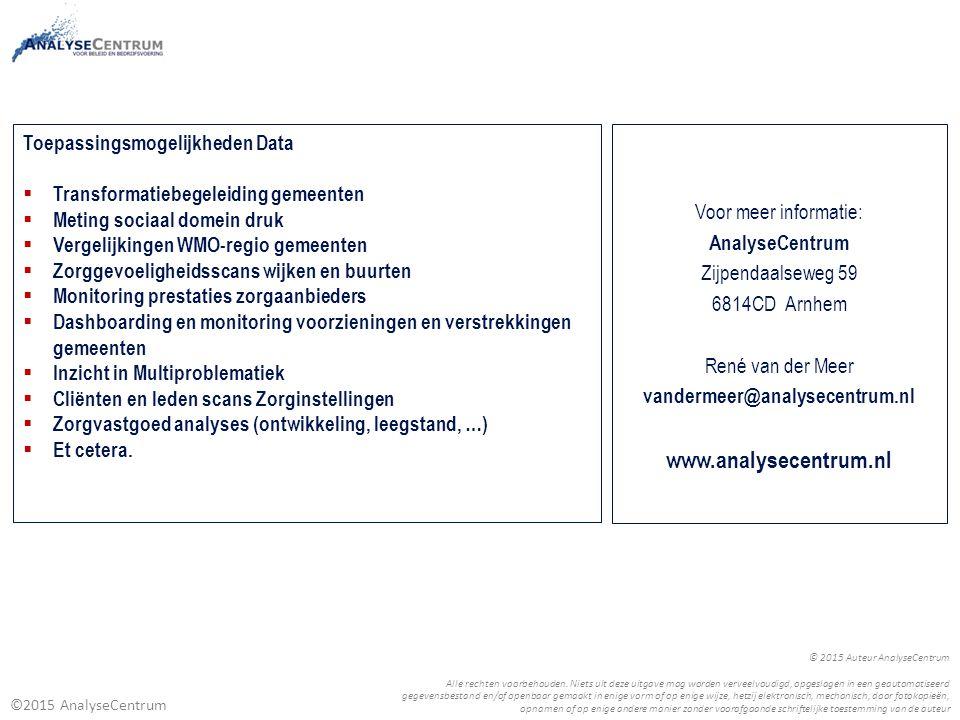 www.analysecentrum.nl Toepassingsmogelijkheden Data