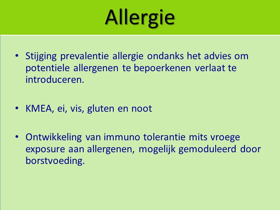 Allergie Stijging prevalentie allergie ondanks het advies om potentiele allergenen te bepoerkenen verlaat te introduceren.