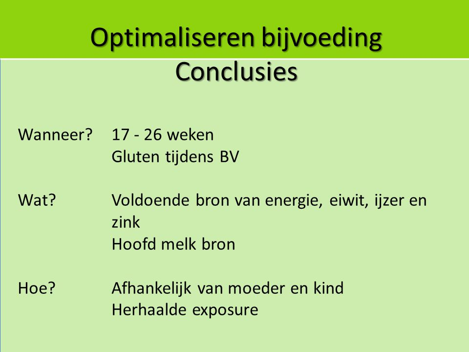 Optimaliseren bijvoeding