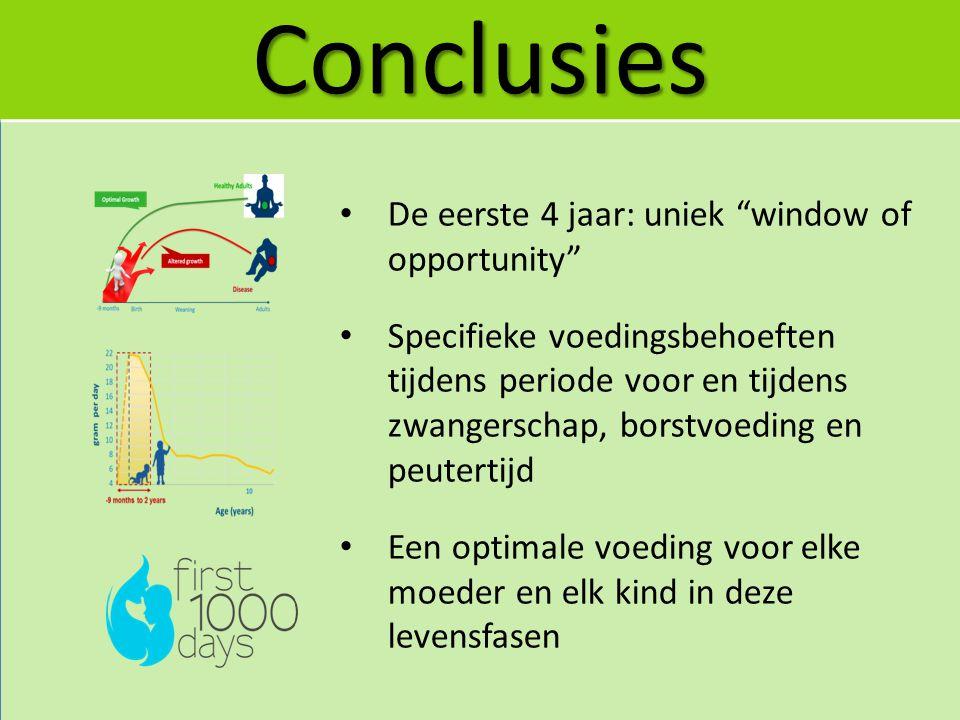 Conclusies De eerste 4 jaar: uniek window of opportunity