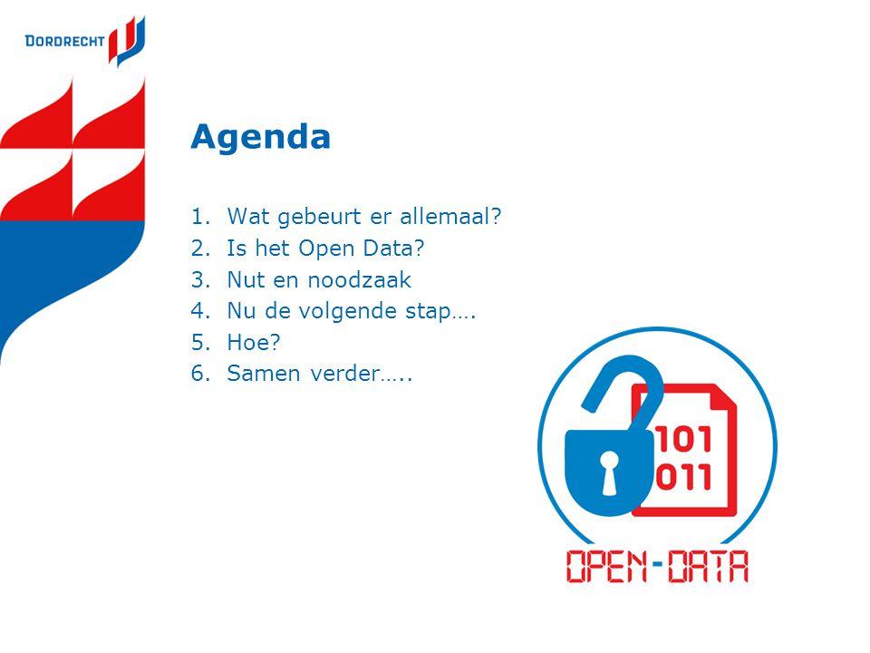 Agenda Wat gebeurt er allemaal Is het Open Data Nut en noodzaak