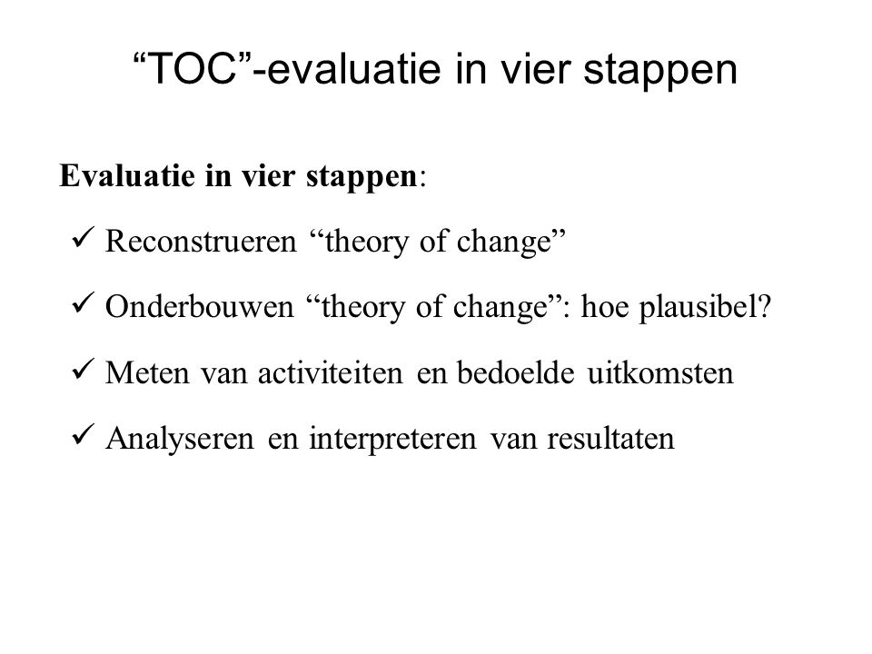 TOC -evaluatie in vier stappen
