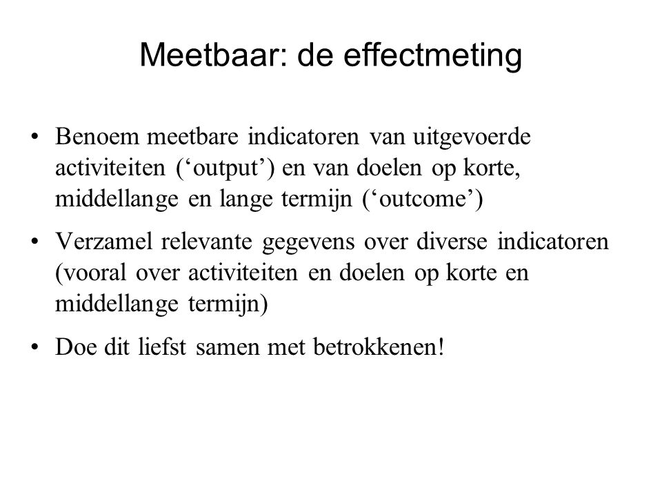 Meetbaar: de effectmeting