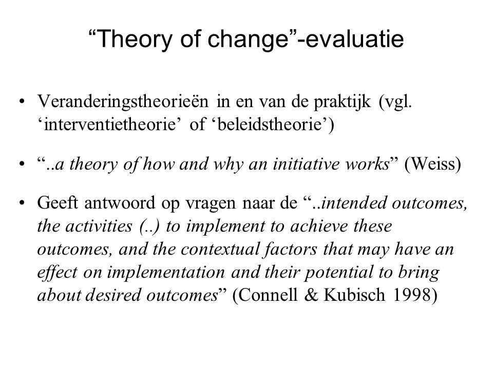 Theory of change -evaluatie