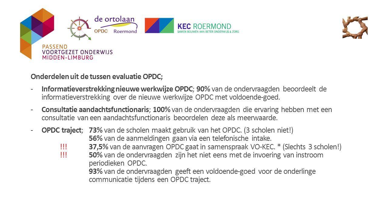 Onderdelen uit de tussen evaluatie OPDC;