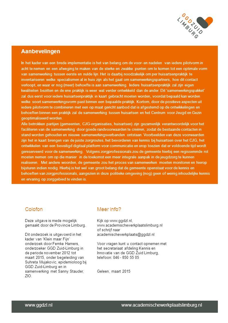 Aanbevelingen Colofon Meer info