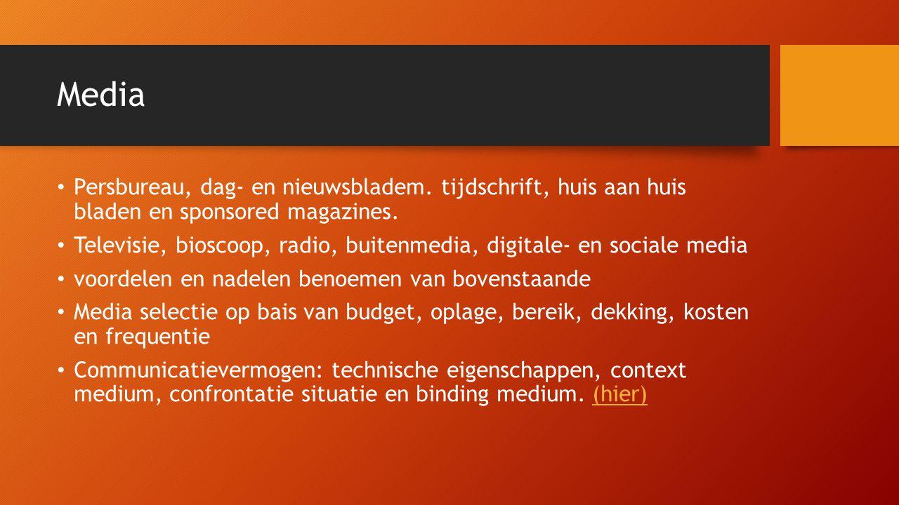 Media Persbureau, dag- en nieuwsbladem. tijdschrift, huis aan huis bladen en sponsored magazines.