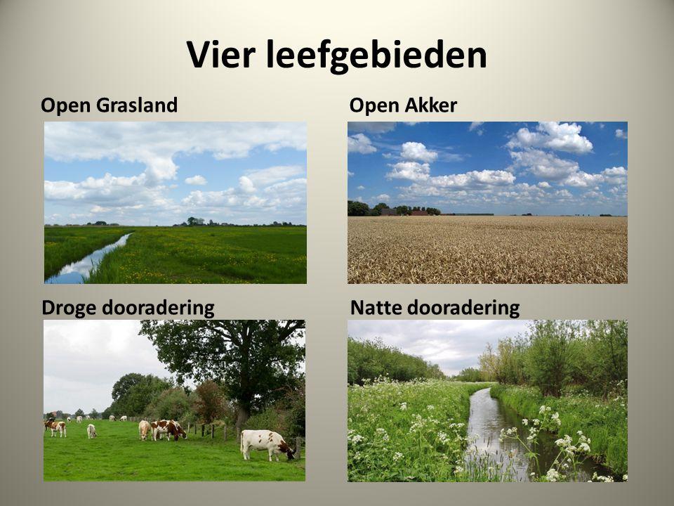 Vier leefgebieden Open Grasland Open Akker Droge dooradering