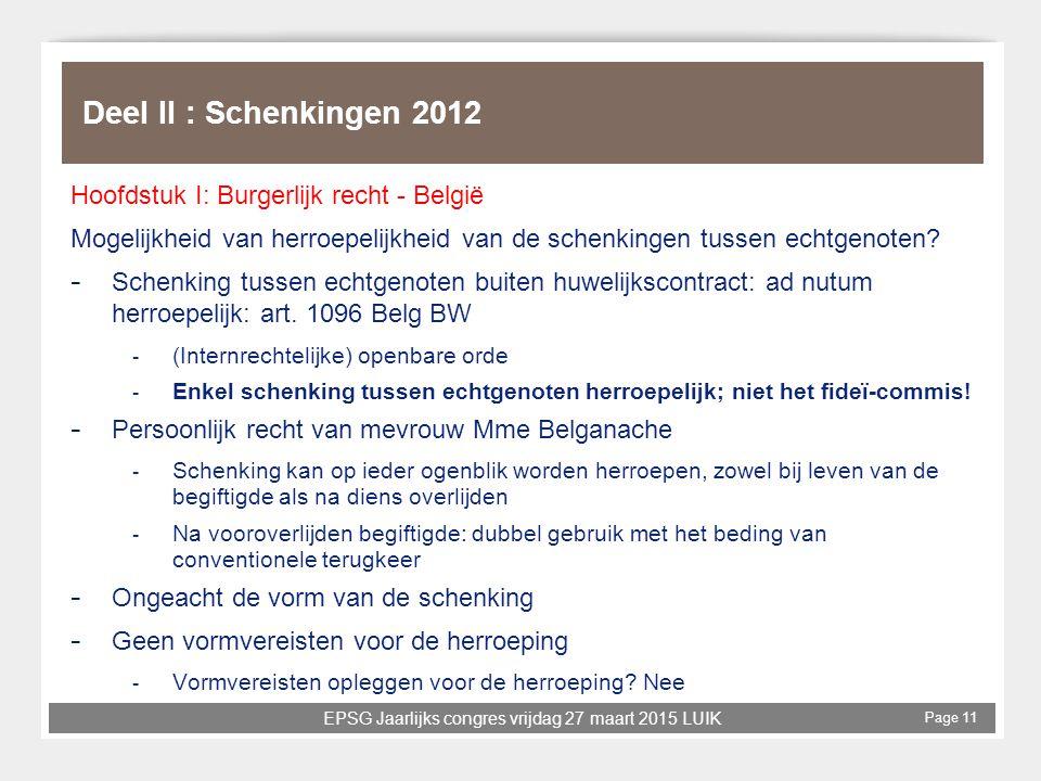 Deel II : Schenkingen 2012 Hoofdstuk I: Burgerlijk recht - België