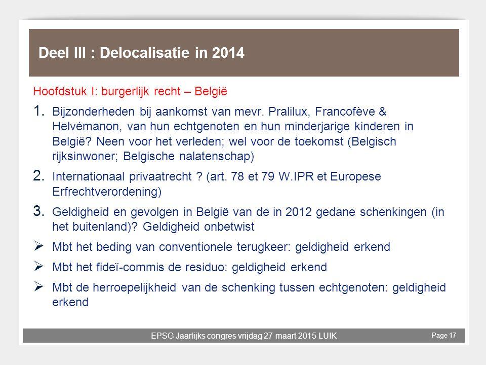 Deel III : Delocalisatie in 2014