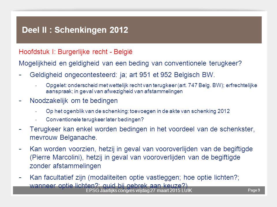 Deel II : Schenkingen 2012 Hoofdstuk I: Burgerlijke recht - België