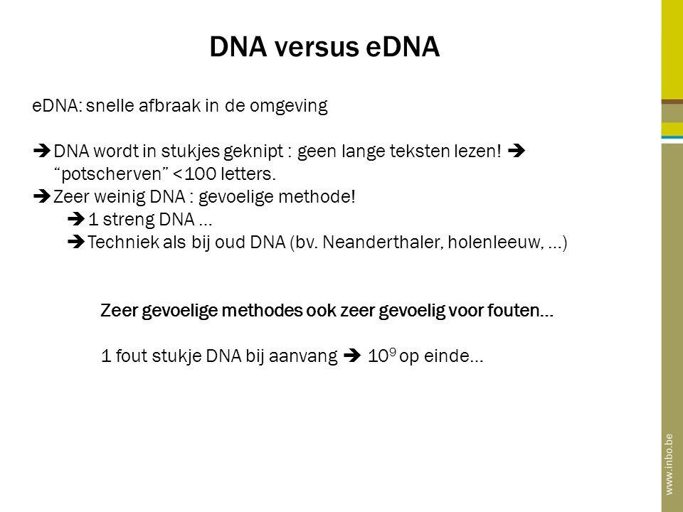 DNA versus eDNA eDNA: snelle afbraak in de omgeving