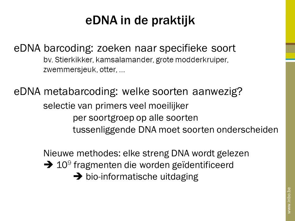 eDNA in de praktijk eDNA barcoding: zoeken naar specifieke soort