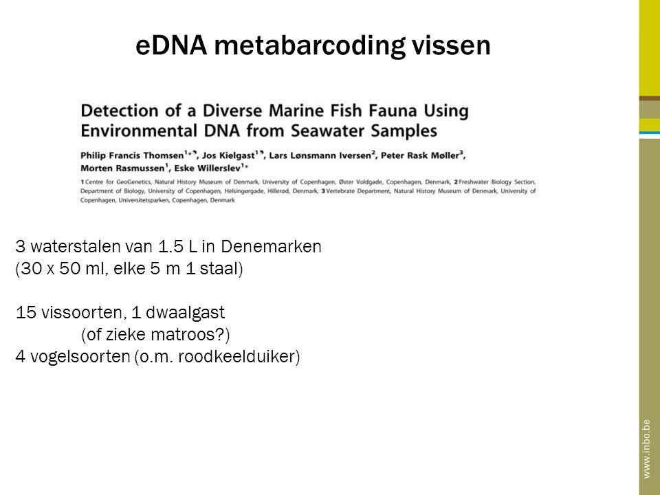 eDNA metabarcoding vissen