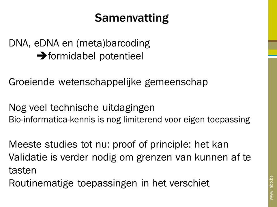 Samenvatting DNA, eDNA en (meta)barcoding formidabel potentieel