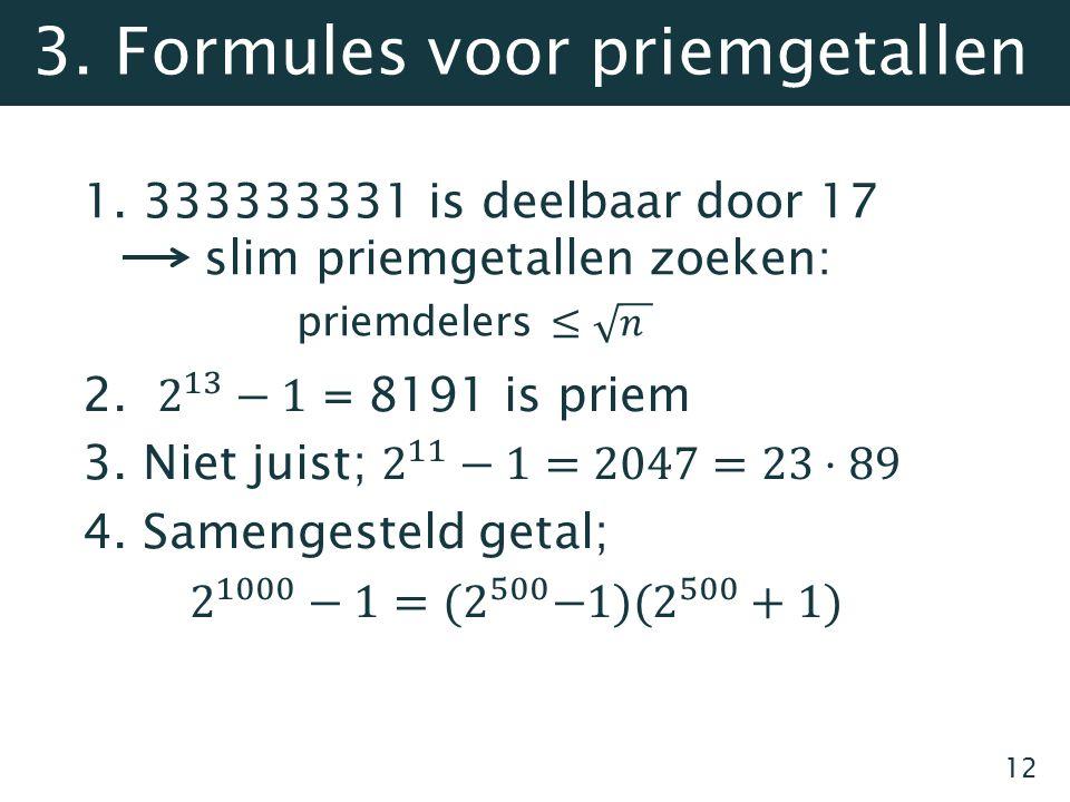 3. Formules voor priemgetallen