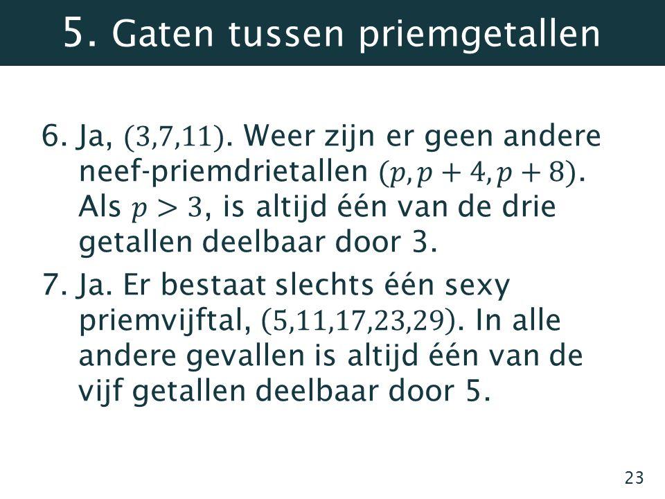 5. Gaten tussen priemgetallen