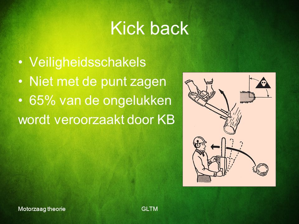 Kick back Veiligheidsschakels Niet met de punt zagen