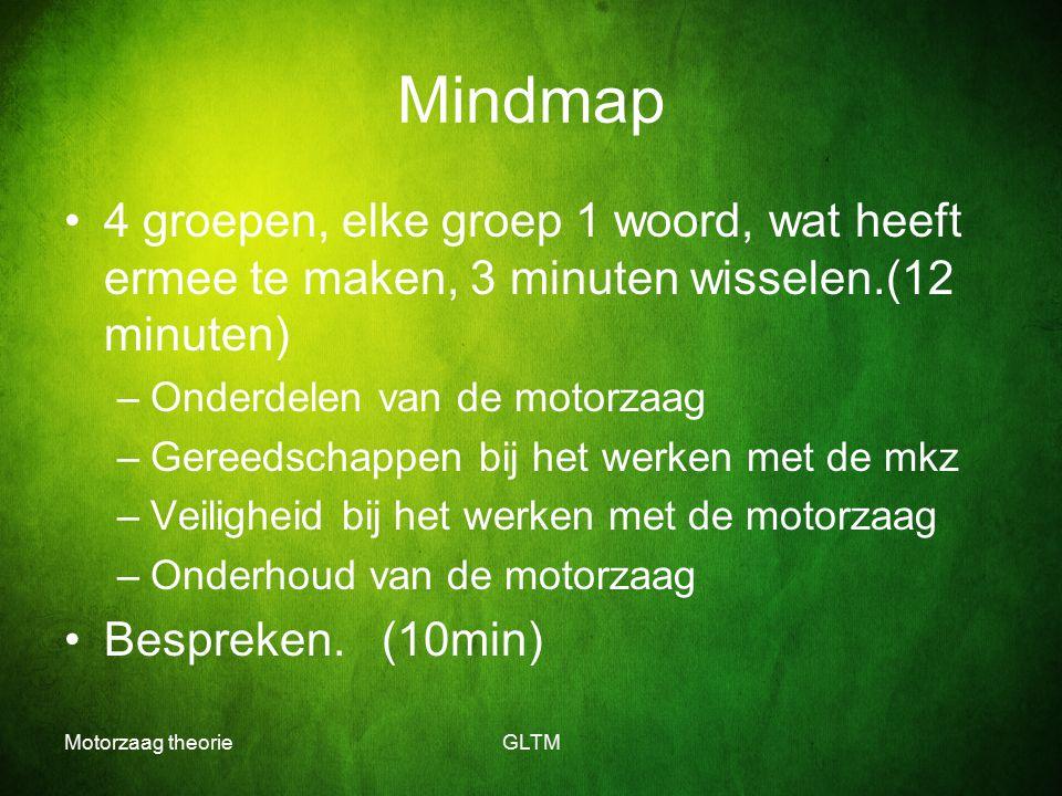 Mindmap 4 groepen, elke groep 1 woord, wat heeft ermee te maken, 3 minuten wisselen.(12 minuten) Onderdelen van de motorzaag.
