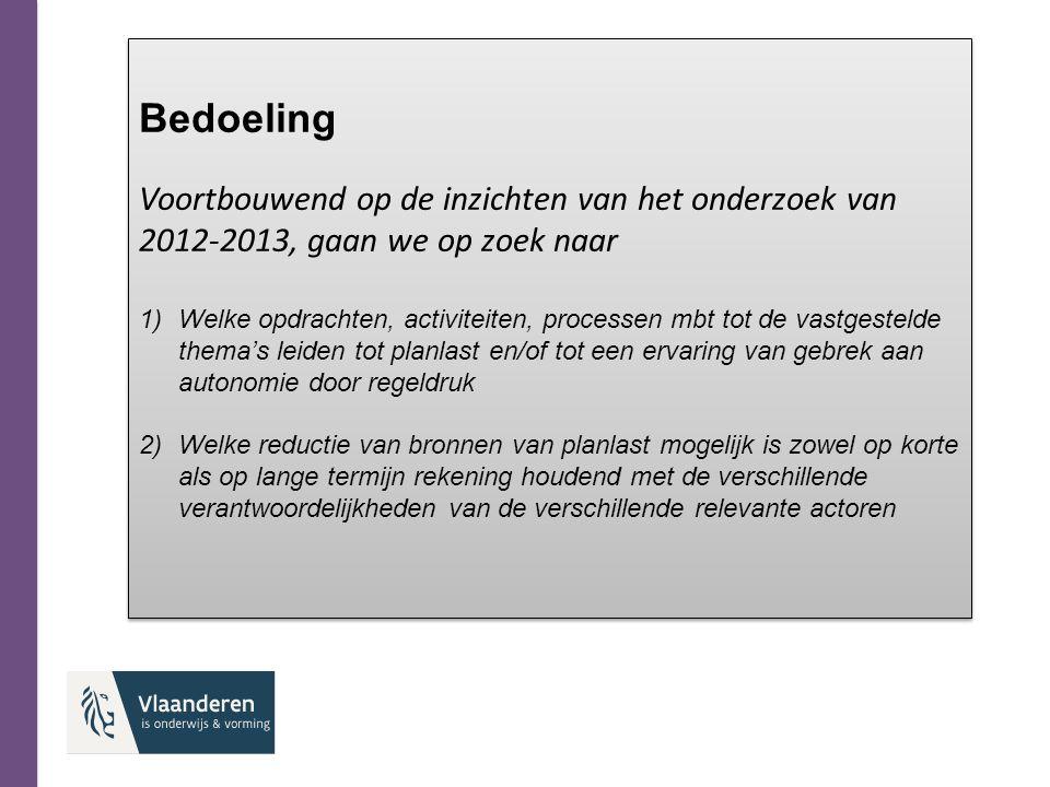 Bedoeling Voortbouwend op de inzichten van het onderzoek van 2012-2013, gaan we op zoek naar.