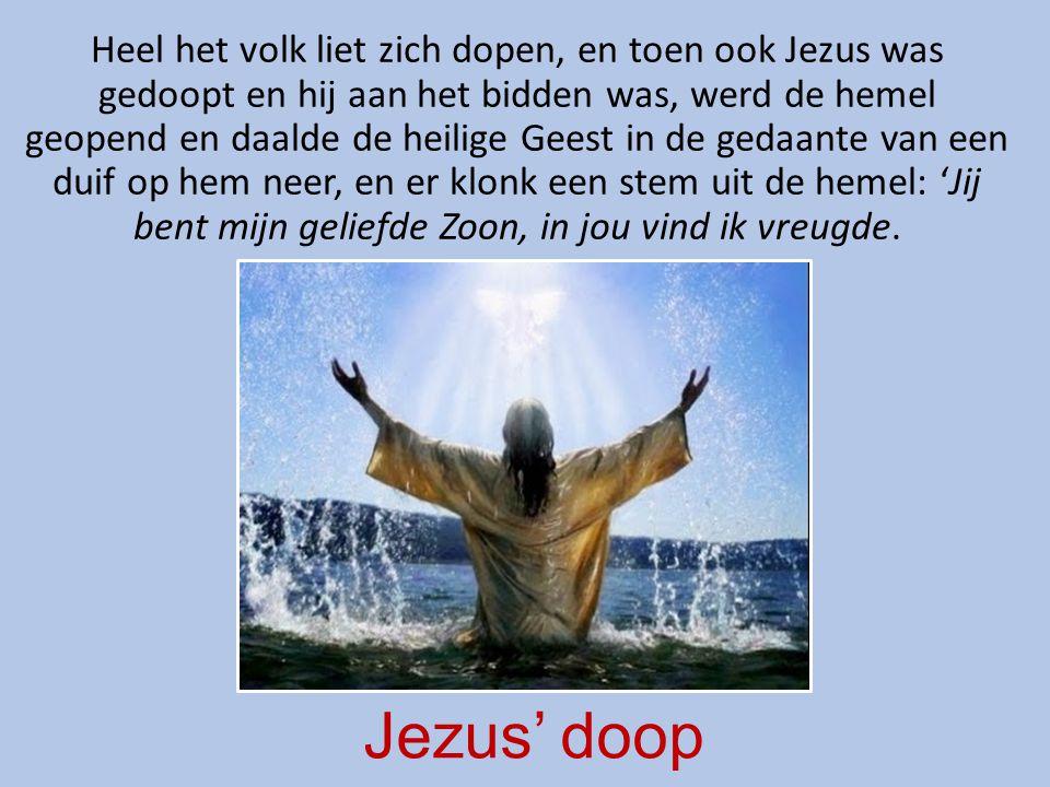 Heel het volk liet zich dopen, en toen ook Jezus was gedoopt en hij aan het bidden was, werd de hemel geopend en daalde de heilige Geest in de gedaante van een duif op hem neer, en er klonk een stem uit de hemel: 'Jij bent mijn geliefde Zoon, in jou vind ik vreugde.