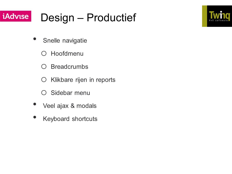 Design – Productief Snelle navigatie Hoofdmenu Breadcrumbs