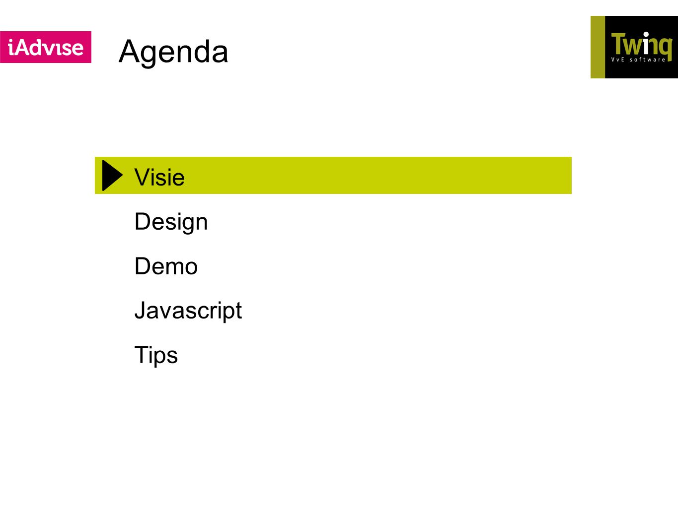 Agenda Visie Design Demo Javascript Tips