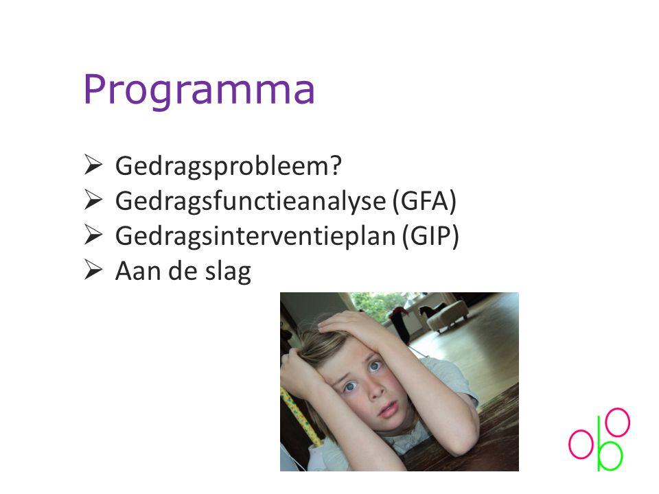 Programma Gedragsprobleem Gedragsfunctieanalyse (GFA)