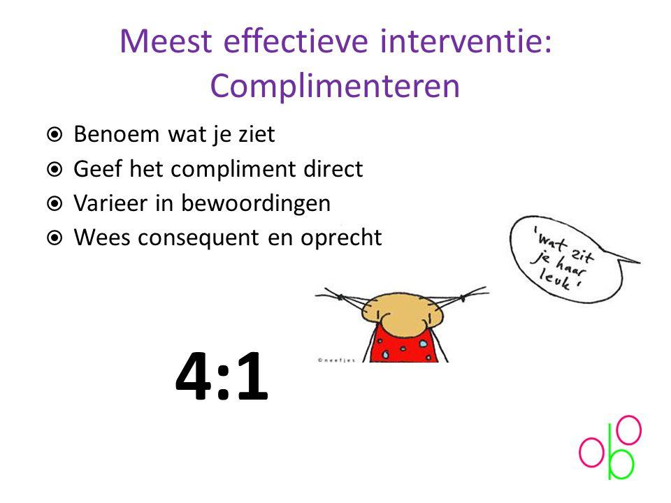 Meest effectieve interventie: Complimenteren