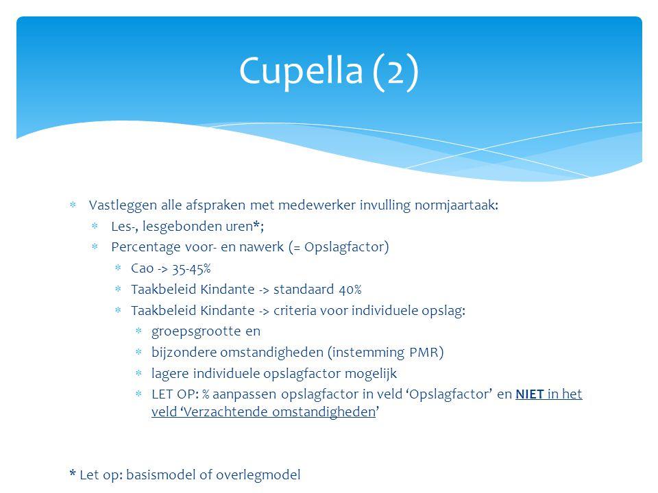 Cupella (2) Vastleggen alle afspraken met medewerker invulling normjaartaak: Les-, lesgebonden uren*;