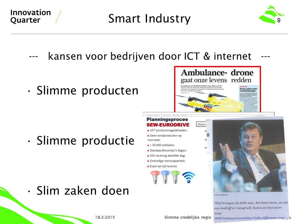 Smart Industry Slimme producten Slimme productie Slim zaken doen