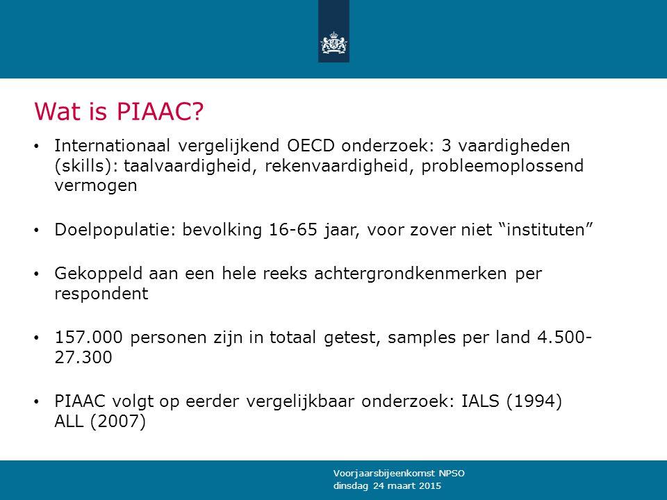 Wat is PIAAC Internationaal vergelijkend OECD onderzoek: 3 vaardigheden (skills): taalvaardigheid, rekenvaardigheid, probleemoplossend vermogen.