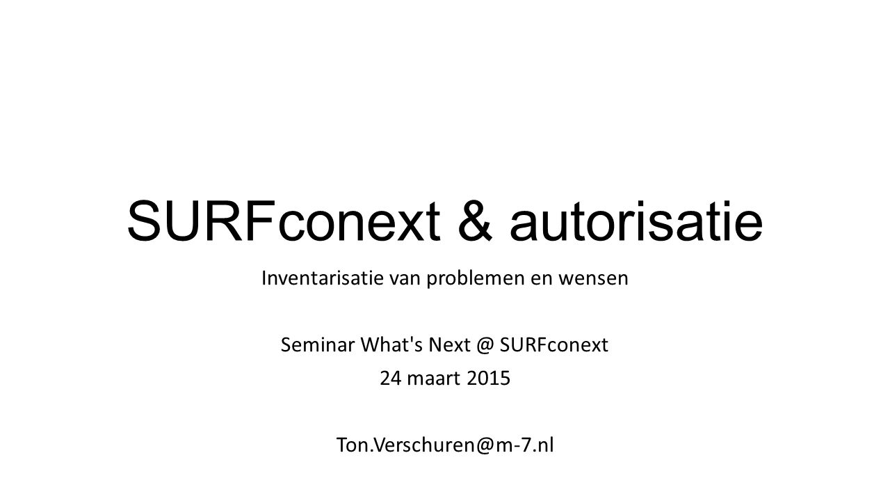 SURFconext & autorisatie