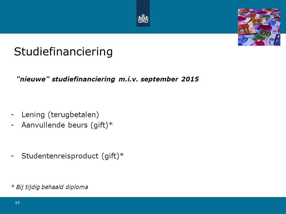 nieuwe studiefinanciering m.i.v. september 2015