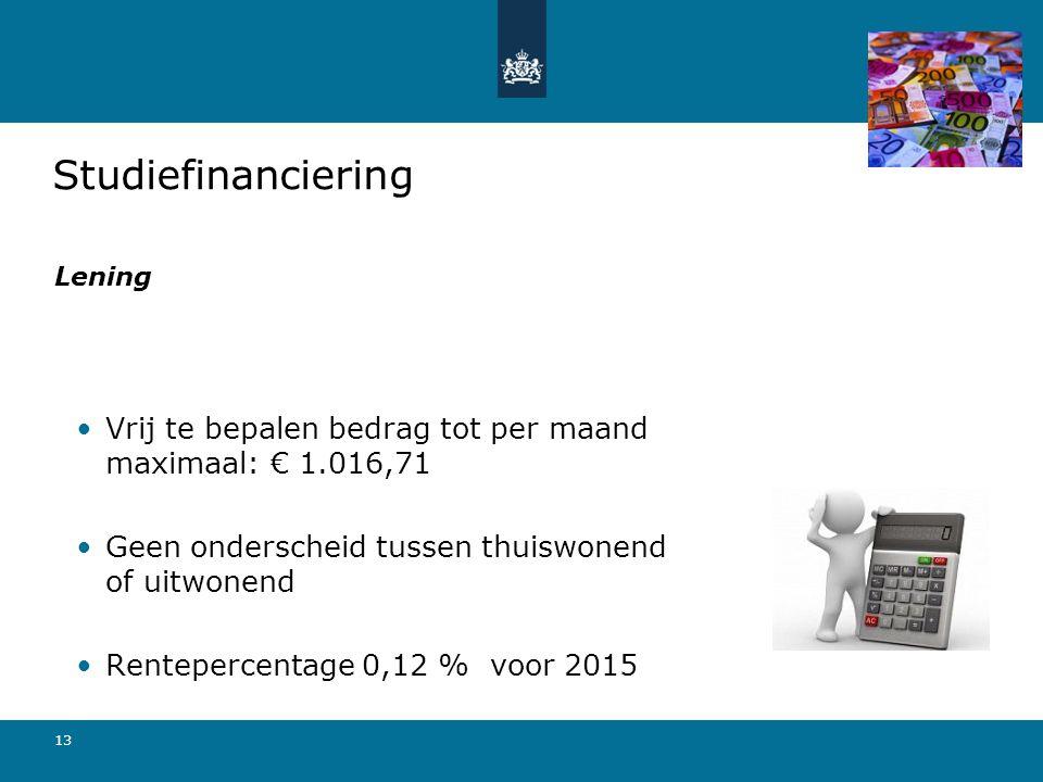 Studiefinanciering Lening. Vrij te bepalen bedrag tot per maand maximaal: € 1.016,71. Geen onderscheid tussen thuiswonend of uitwonend.