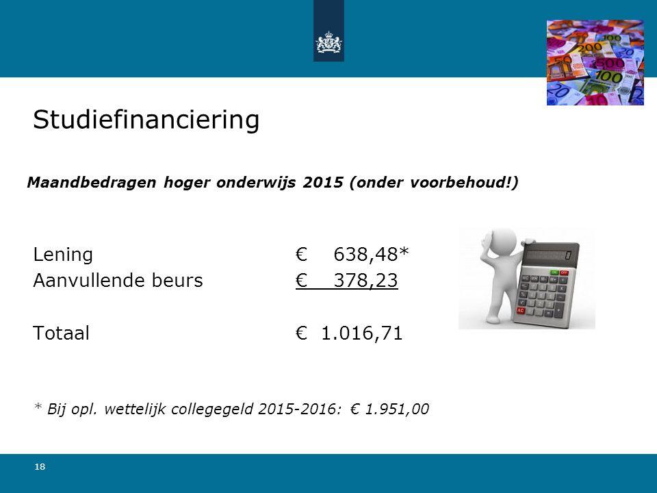 Maandbedragen hoger onderwijs 2015 (onder voorbehoud!)