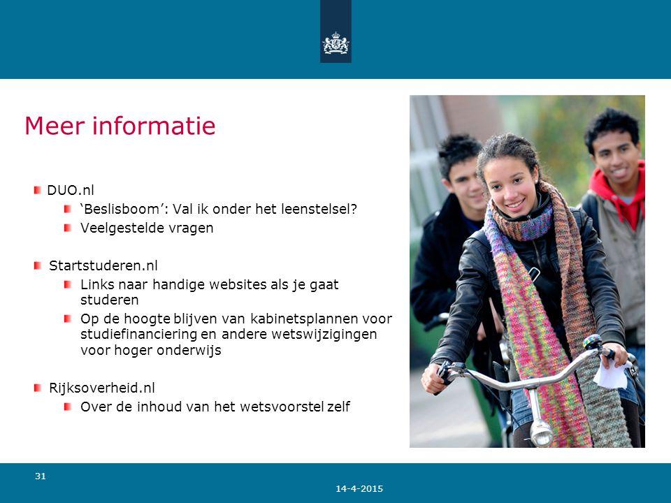 Meer informatie DUO.nl 'Beslisboom': Val ik onder het leenstelsel